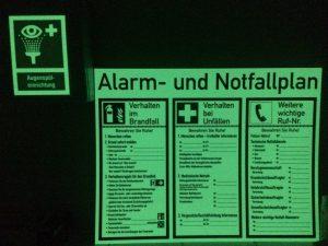 XTRA-GLO Alarm- und Notfallplan
