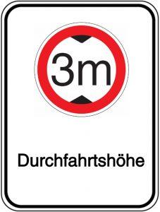 Schild - Durchfahrtshöhe 3 m