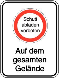 Schild - Schutt abladen verboten - Auf dem gesamten Gelände