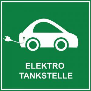 Schild Elektro Tankstelle grün