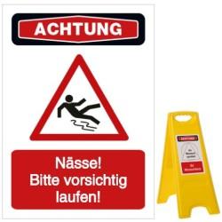 Vorlage: Nässe! Bitte vorsichtig laufen!