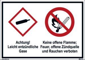 Piktogramme: Leicht entzündliche Gase & Keine offene Flamme