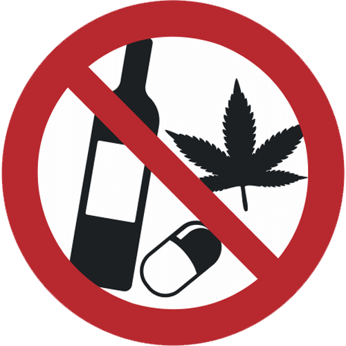 Verbot - Alkohol, Medikamente und Drogen verboten