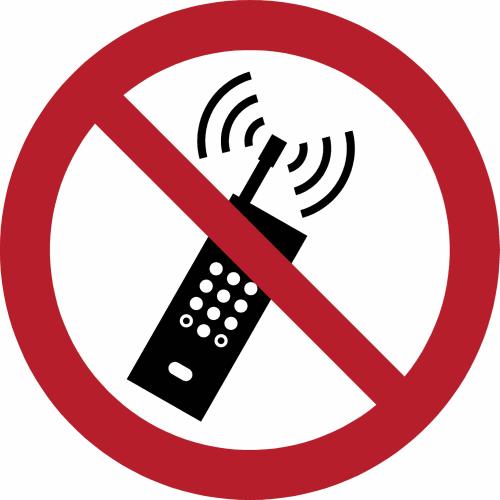 Verbot - Eingeschaltete Mobiltelefone verboten