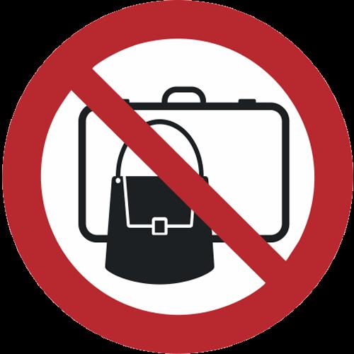 Verbot - Koffer, Rucksäcke und Taschen verboten