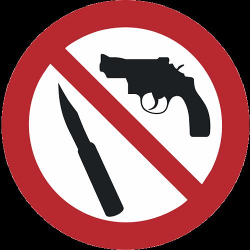 Verbot - Mitnahme von Waffen und spitzen Gegenständen verboten