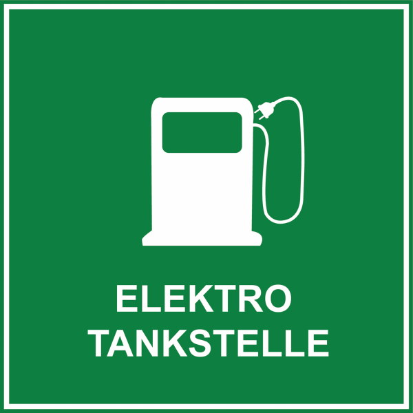 Hinweisschild für Elektrotankstelle mit Tankstellenzeichen