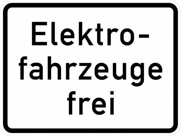 Verkehrsschild: Elektrofahrzeuge frei
