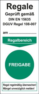 """Regal-Grundplakette """"Freigabe"""""""